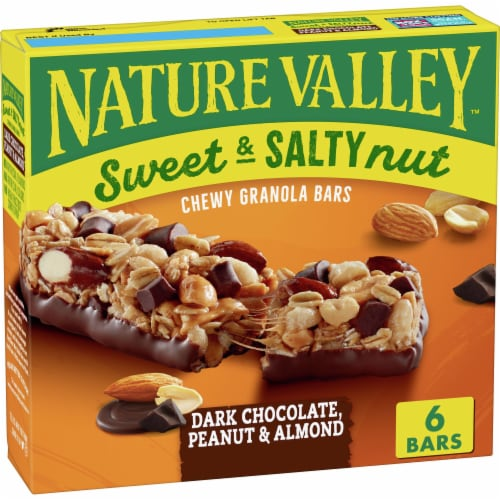 Nature Valley Sweet & Salty Nut Dark Chocolate Peanut & Almond Chewy Granola Bars Perspective: front