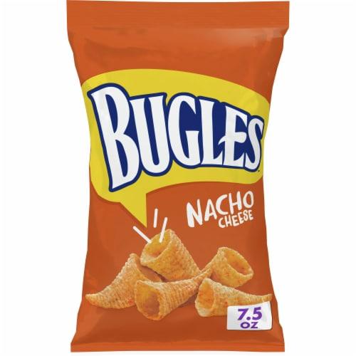 Bugles Nacho Cheese Flavor Crispy Corn Snacks Perspective: front