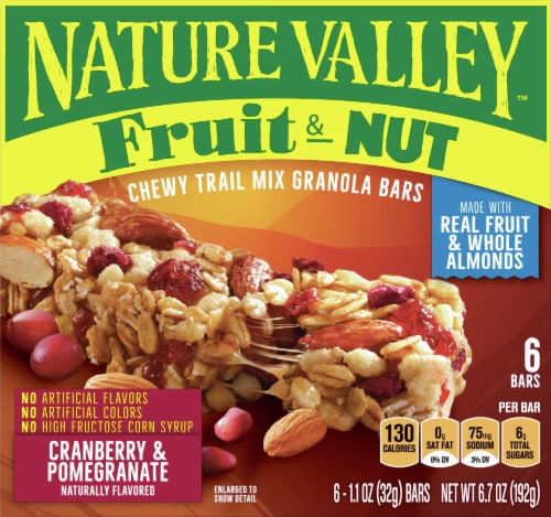Pick N Save Nature Valley Fruit Nut Cranberry Pomegranate Chewy Trail Mix Granola Bars 6 Ct 1 1 Oz
