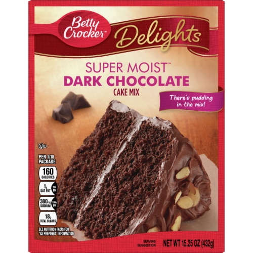 Betty Crocker Delights Super Moist Dark Chocolate Cake Mix Perspective: front