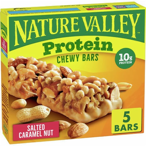 Nature Valley Salted Caramel Nut Chewy Protein Bars Perspective: front