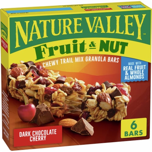 Nature Valley Fruit & Nut Dark Chocolate Cherry Chewy Trail Mix Granola Bars Perspective: front