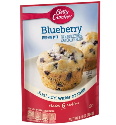 Betty Crocker Blueberry Muffin Mix Case Perspective: front