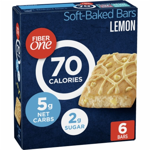 Fiber One 70 Calorie Lemon Soft-Baked Bars 6 Count Perspective: front