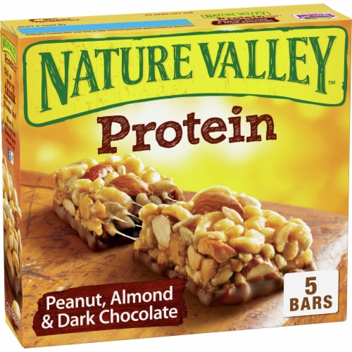 Nature Valley Peanut Almond & Dark Chocolate Protein Chewy Bars 5 Count Perspective: front