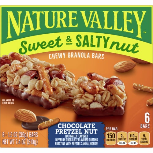 Nature Valley Sweet & Salty Nut Chocolate Pretzel Nut Granola Bars Perspective: front