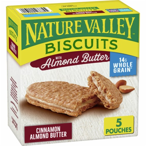 Nature Valley Cinnamon Almond Butter Biscuit Snack Cookies Perspective: front