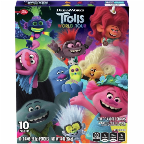 Betty Crocker Dreamworks Trolls World Tour Fruit Flavored Snacks Perspective: front