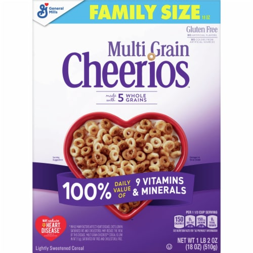Multi Grain Cheerios Gluten Free Lightly Sweetened Cereal Family Size Perspective: front