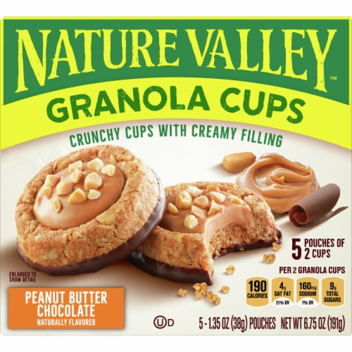 Nature Valley Peanut Butter Chocolate Granola Cups 5 Count Perspective: front