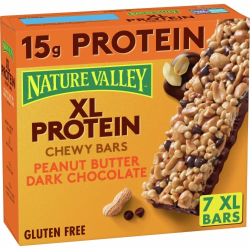 Nature Valley Gluten Free XL Protein Peanut Butter Dark Chocolate Chewy Bars Perspective: front