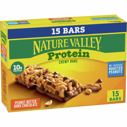 Nature Valley Protein Peanut Butter Dark Chocolate Chewy Bar Family Pack 15 Count Perspective: front
