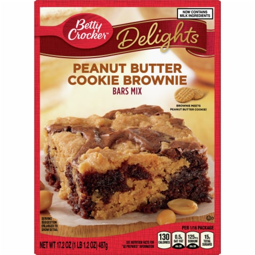 Betty Crocker Delights Peanut Butter Cookie Brownie Bars Mix Perspective: front
