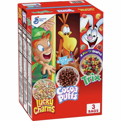 General Mills Lucky Charms Cocoa Puffs & Trix Triple Pack Cereal Perspective: front