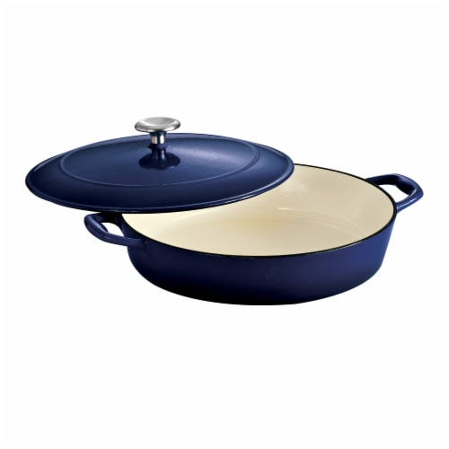 Tramontina Gourmet Covered Cast Iron Braiser - Gradated Cobalt Perspective: front
