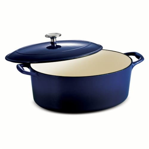 Tramontina Gourmet Covered Oval Cast Iron Dutch Oven - Gradated Cobalt Perspective: front