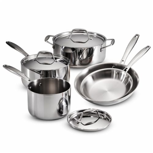 Tramontina Stainless Steel Tri-Ply Clad 8-Piece Cookware Set Perspective: front