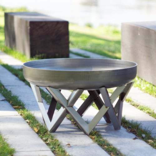 Curonian 63Rock 0.126 in. Vingis Stainless Steel Wood Burning Fire Pit Perspective: front