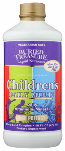 Buried Treasure Children's Complete Daily Vitamin & Mineral Liquid Perspective: front