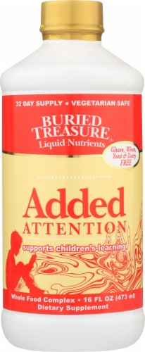 Buried Treasure Added Attention for Children Dietary Supplement Perspective: front