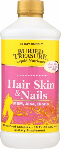 Buried Treasure Hair Skin Nails Liquid Dietary Supplement Perspective: front
