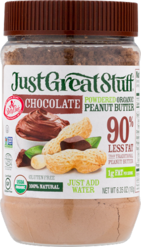 Just Great Stuff Organic Chocolate Powdered Peanut Butter Perspective: front