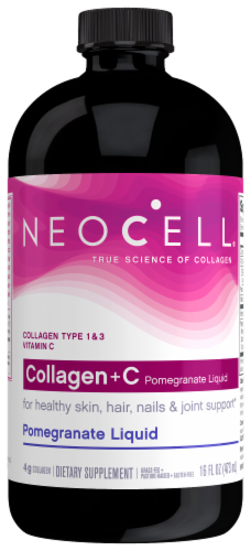 Neocell Collagen+ Vitamin C Pomegranate Liquid Dietary Supplement Perspective: front