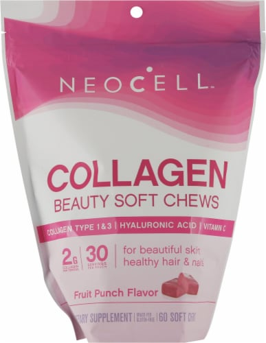 Neocell Beauty Bursts Fruit Punch Flavor Collagen Soft Chews Perspective: front