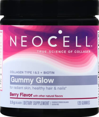 Neocell Gummy Glow Berry Flavor Collagen & Biotin Gummies Perspective: front