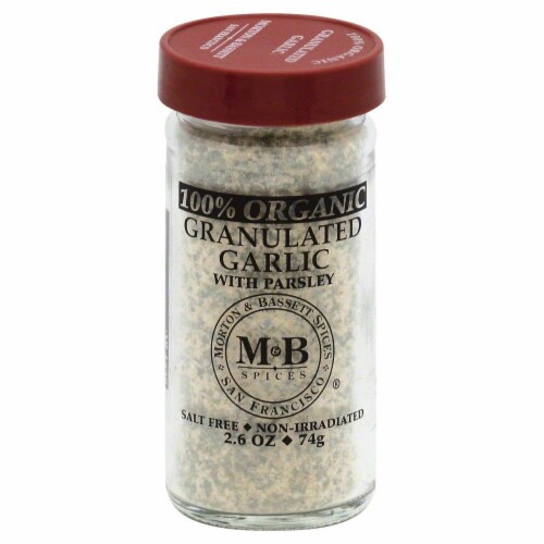 Morton & Basset 100% Organic Granulated Garlic with Parsley Perspective: front