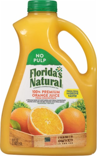 Florida's Natural 100% No Pulp Orange Juice Perspective: front