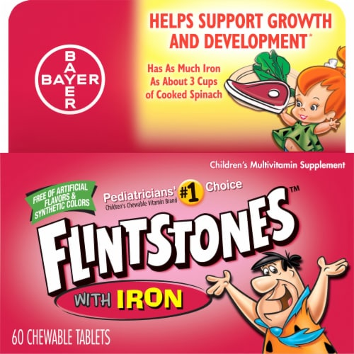 Flintstones with Iron Kids Multivitamin Chewable Tablets 60 Count Perspective: front