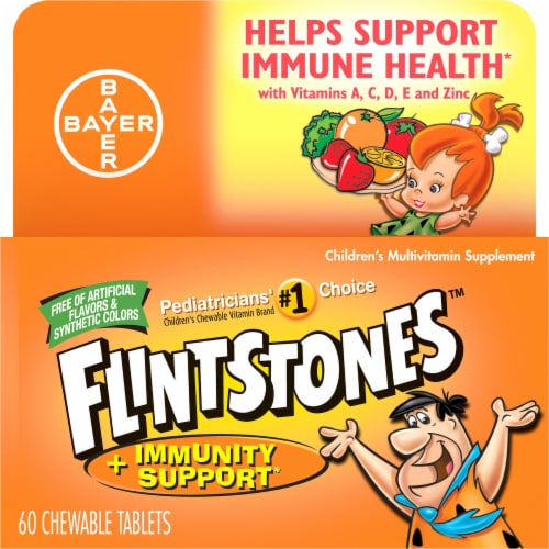 Flinstones Chewable Kids Vitamin Plus Immunity Support with Vitamins A C E & Zinc Perspective: front