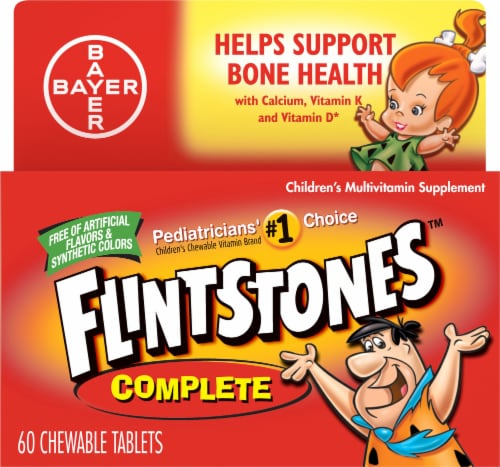 Flintstones Fruit Flavored Kids Multivitamins Chewable Tablets 60 Count Perspective: front