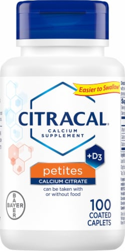 Citracal Petites Calcium Citrate Plus D3 Coated Caplets 100 Count Perspective: front