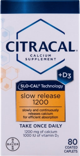 Citracal +D3 Slo-Cal Technology Calcium Supplement Coated Caplets Perspective: front