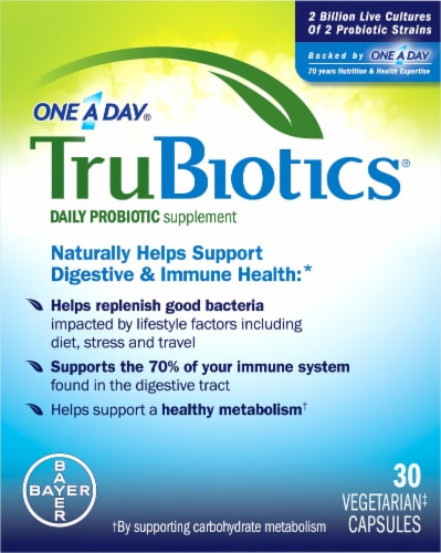 One A Day TruBiotics Daily Probiotic Supplement 30 Count Perspective: front