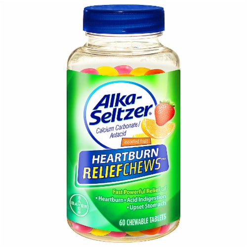 Alka-Seltzer Heartburn ReliefChews Extra Strength Assorted Fruit Chewable Tablets Perspective: front