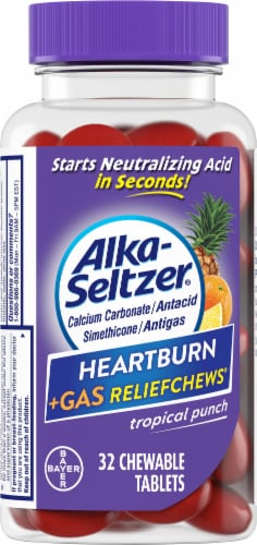 Alka-Seltzer Heartburn+Gas Relief Chews Tropical Punch Chewable Tablets Perspective: front