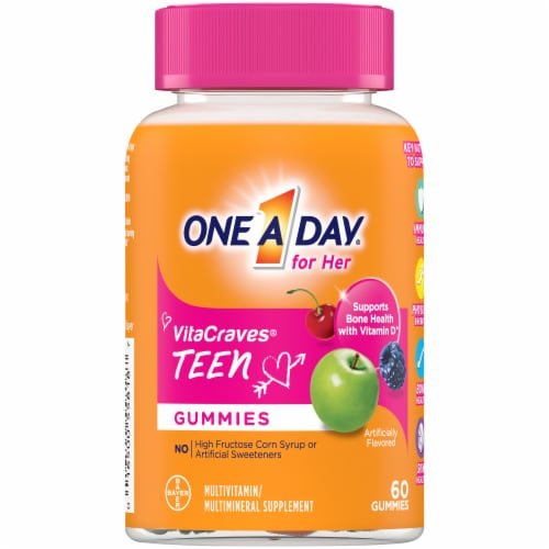 One A Day Teen Gummies for Her Vitacrave Multivitamin Gummies Perspective: front