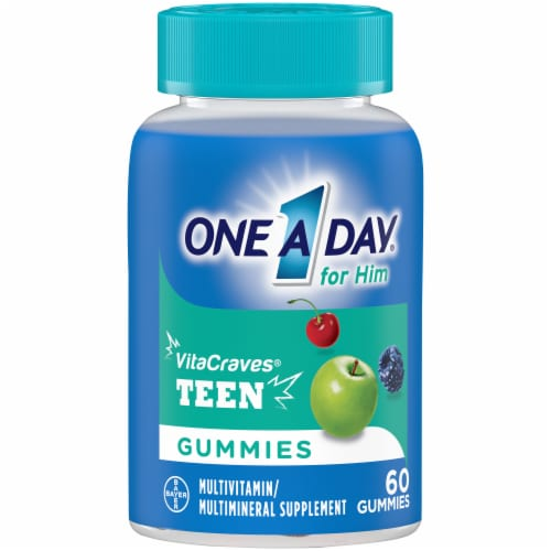 One A Day Teen Gummies for Him Vitacrave Multivitamin Gummies Perspective: front