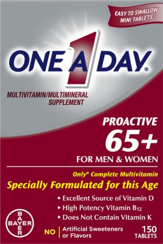 One A Day Proactive 65+ for Men & Women Multivitamin Tablets Perspective: front