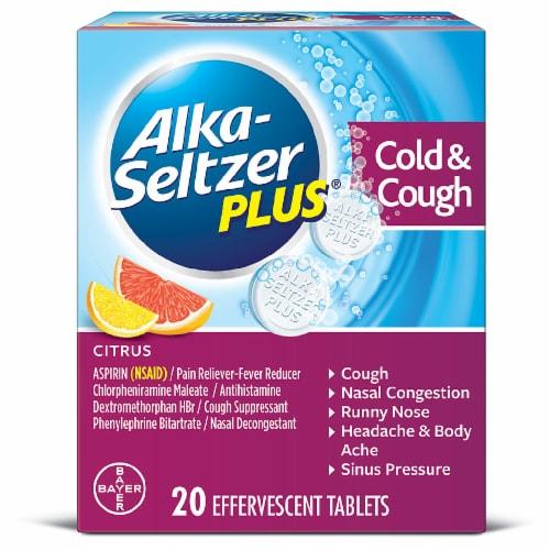 Alka-Seltzer Plus Citrus Cold & Cough Formula Tablets Perspective: front