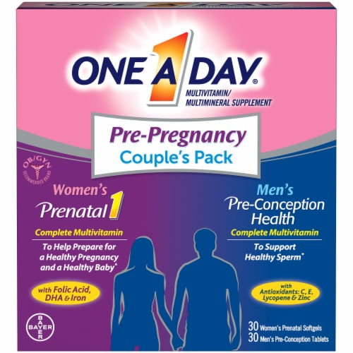 One A Day Pre-Pregnancy Couple's Pack Perspective: front