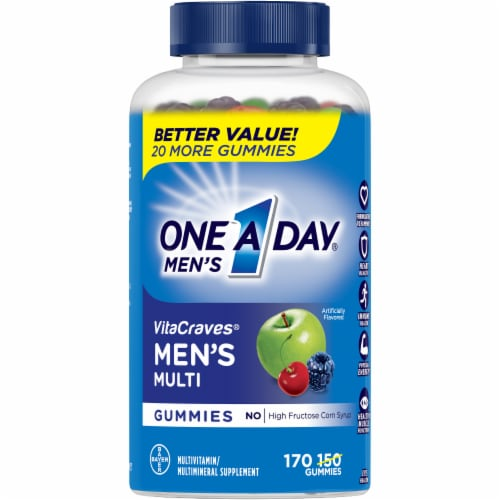 One A Day Men's VitaCraves Multivitamin Gummies Perspective: front