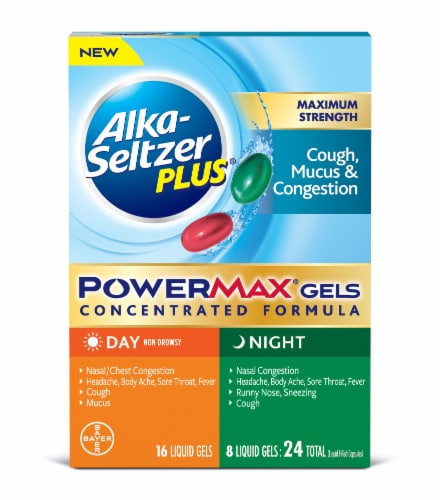 Alka Seltzer Plus Day and Night Cough Mucus & Congestion Power Max Liquid Gels Perspective: front