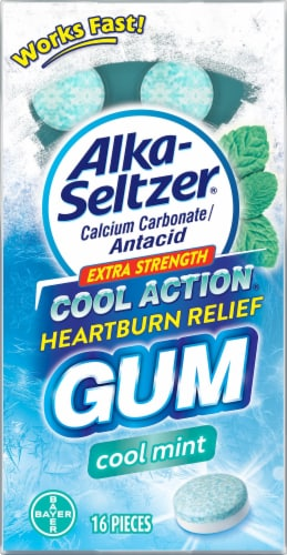 Alka-Seltzer Cool Mint Extra Strength Cool Action Heartburn Relief Gum Perspective: front