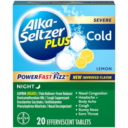 Alka-Seltzer Plus Lemon Severe Cold Night Relief Tablets 20 Count Perspective: front