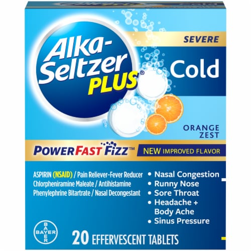Alka-Seltzer Plus Orange Zest Severe Cold Relief Tablets 20 Count Perspective: front