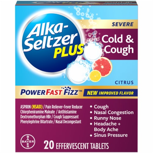 Alka-Seltzer Plus Citrus Severe Cold and Cough Relief Tablets Perspective: front